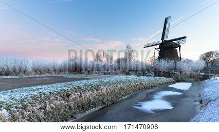 Windmill 'de Veer' near Haarlem city on a winter morning