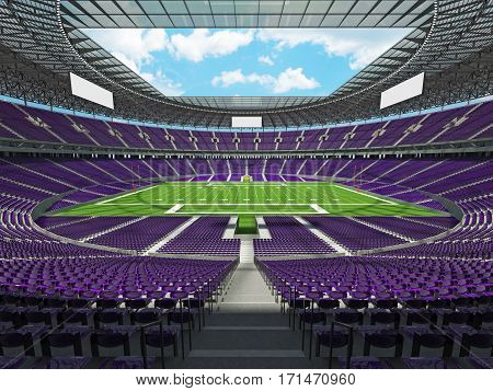 3D Render Of A Round Football Stadium With Purple Seats For Hundred Thousand People With Vip Boxes