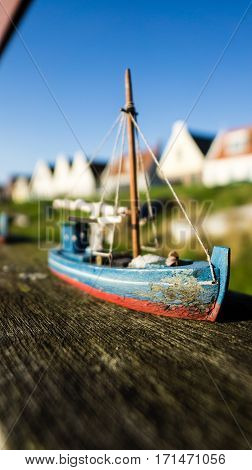 Miniature of a boat in a tiny little town next to Amsterdam try to find find it when you are there...!
