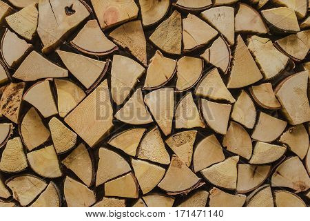 texture of chopped firewood stacked firewood many