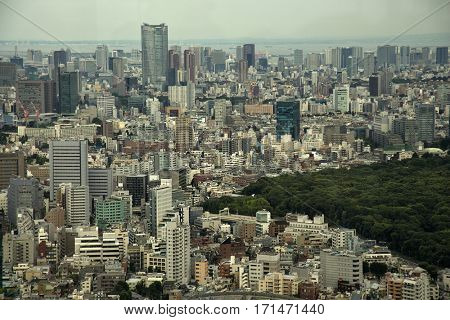 View of Tokyo city from the metropolitan tower