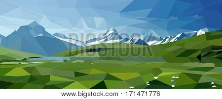 Vector landscape with alpine meadows is in the polygonal style