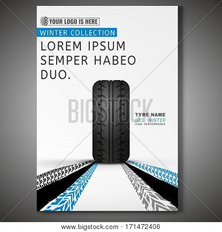 Vector Tyre poster template. Modern idea for flyer, book, booklet, brochure and leaflet design. Editable graphic layout with copyspace in grey, blue, white and black colors
