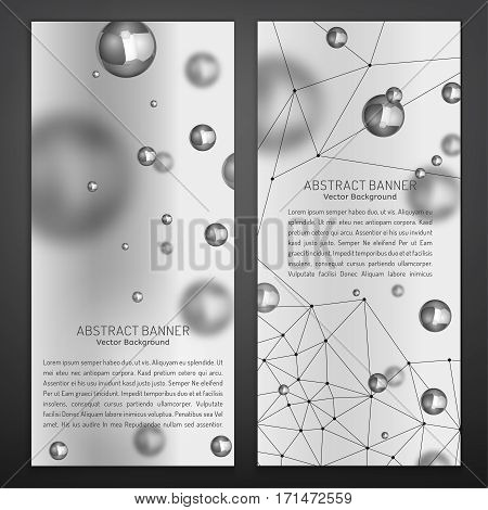 Digital banners with silver particles and molecular structure. Abstract molecules or atoms design. Medical scientific backgrounds with a copyspace for vertical banner or flyer. Vector illustration.