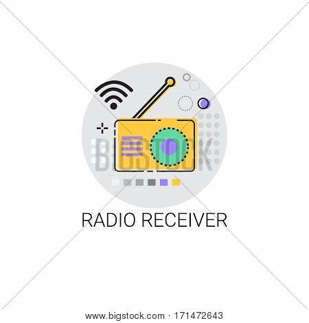 Radio Receiver Telecommunications Device Icon Vector Illustration