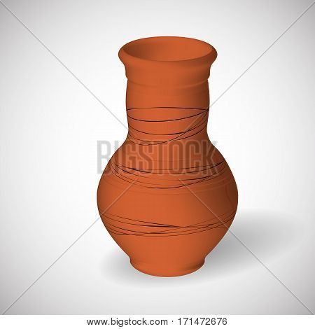 Vector realistic clay jug in the style of 3d