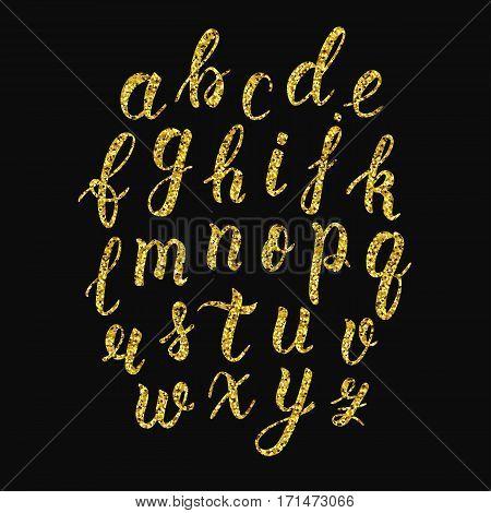 Handwritten latin calligraphy brush script of lowercase letters. Gold glitter alphabet. Vector illustration