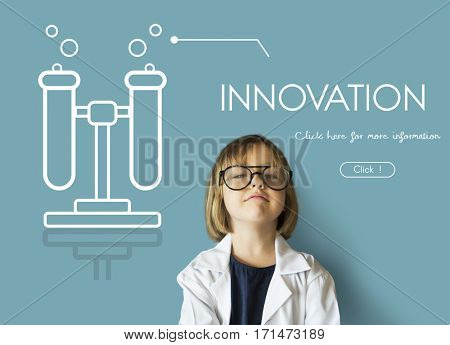 Science learning test tube graphic webpage