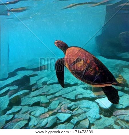 Sea turtle swimming underwater. Digital illustration in painting style. Exotic wild animal in natural environment. Ocean life and ecosystem. Snorkeling with green sea turtle at Philippines island