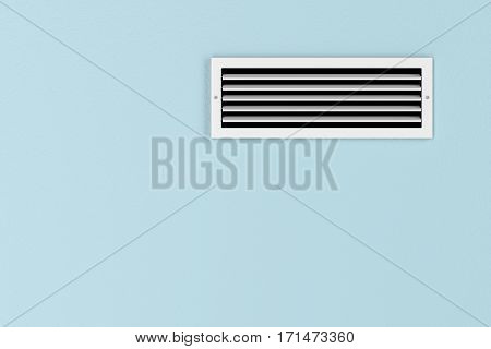 Air conditioning vent on the blue wall, 3d illustration