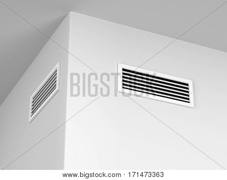 Air vents for heating or cooling on the wall, 3d illustration