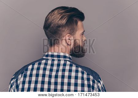 Back View Of Stylish  Young Bearded Man With Modern Hairstyle