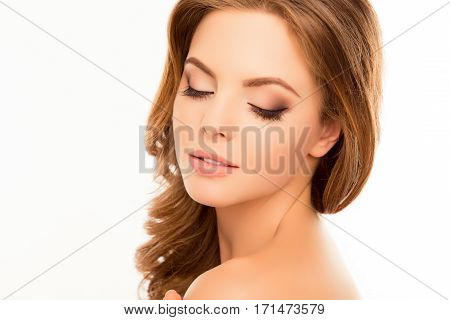 Portrait Of Beautiful Young Sensitive Woman With Closed Eyes