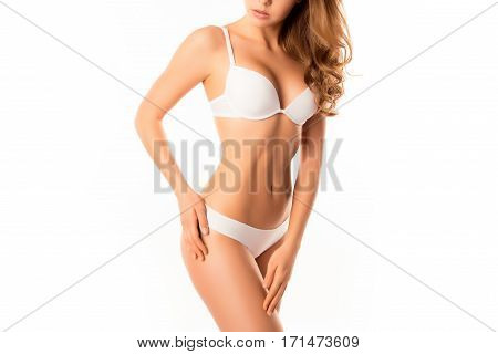Close Up Of Young Woman In Lingerie Showing Perfect Body