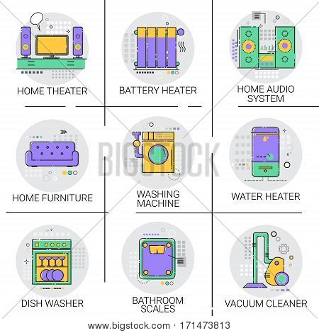 Hot Water Heater Battery Household House Heating Icon Set Furniture, Vacuum Cleaner Dish Washing Machine Collection Vector Illustration