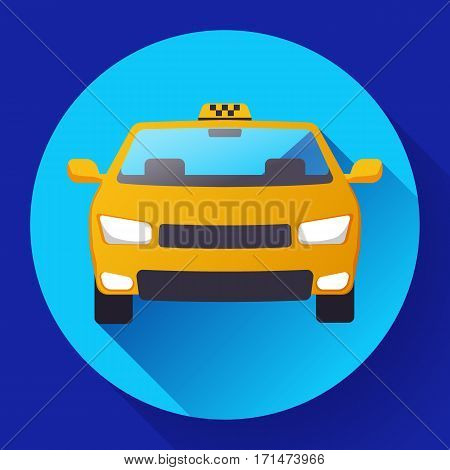Flat Taxi car cartoon icon vector illustration
