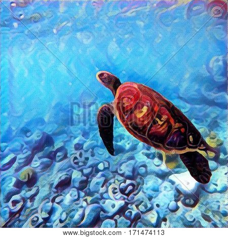 Sea turtle swimming underwater. Bright digital illustration of tropical nature. Exotic wild animal in natural environment. Ocean ecosystem image. Snorkeling with green sea turtle at Philippines island
