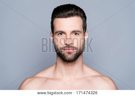 Portrait Of Bearded Naked Young Man After Shower
