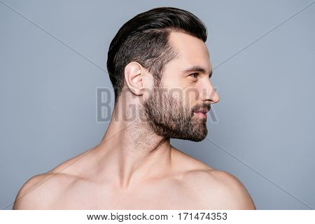 Portrait Of Handsome Young Muscular Sexy Bearded Man