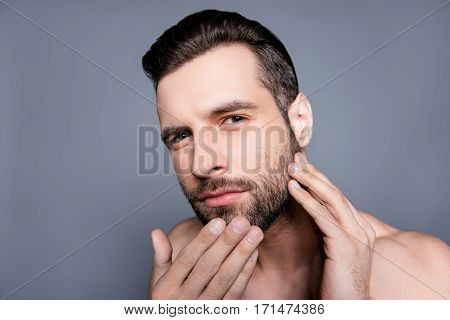 Young Attractive Man Expertising His Skin Before Shaving