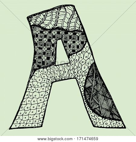 Sketchy letter A on light-green background. Free hand drawn. Vector illustration.