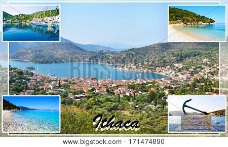 photo collage of Ithaca Ionian islands Greece