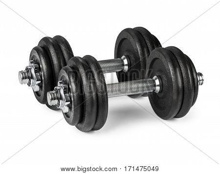 The  b;ack dumbbell on white background. isolated