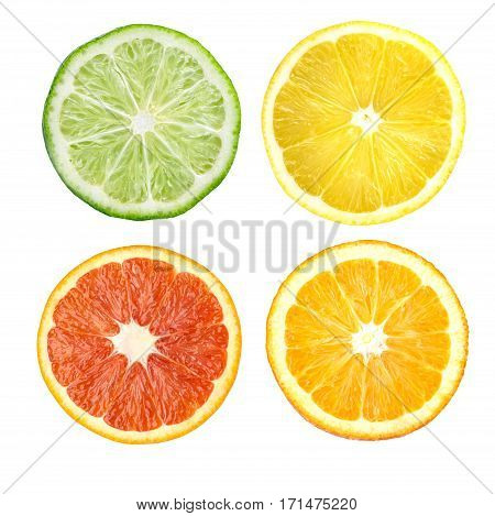 Citrus fruit. Orange lemon lime grapefruit. Slices isolated on white