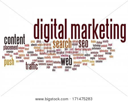 Concept or conceptual digital marketing seo or traffic abstract word cloud isolated on background