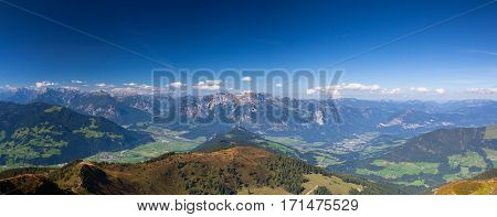 Mountain view from the top - The alpine village of Alpbach and the Alpbachtal (Alpbach valley) Austria - Panorama