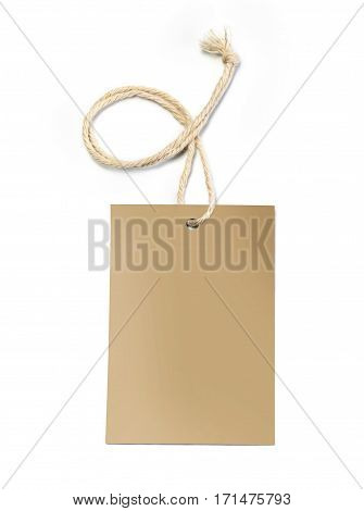 Blank tag tied with string. Price tag gift tag sale tag address label