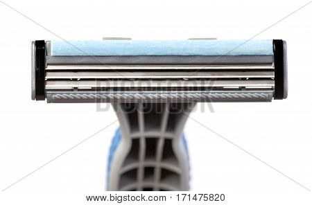 Disposable plastic shaver blade isolated on the white background