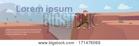 Business Man Carry Money Sack Mountain Road Rope Bridge Risk Concept Flat Vector Illustration