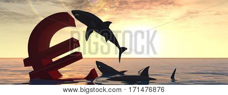 Conceptual 3D illustration bloody euro symbol or sign sinking in water or sea, with black sharks eating, metaphor or concept banner