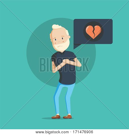 Grandfather character with heart attack. Vector flat cartoon illustration