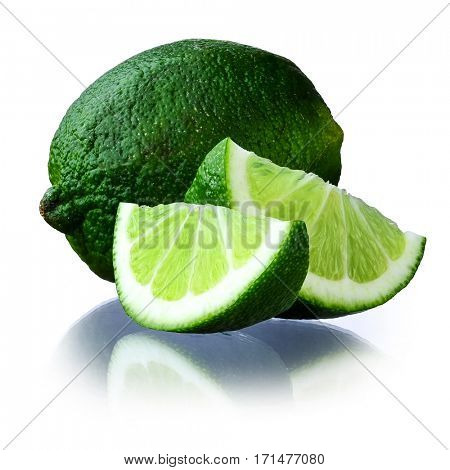 Close-up image of lime studio isolated on white background