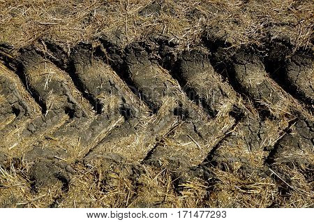 Tractors leave tread tracks over a wet sod, creating a pattern of indentions to the ground