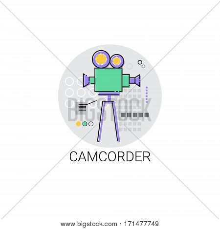 Camcorder Shooting Camera Film Production Industry Icon Vector Illustration