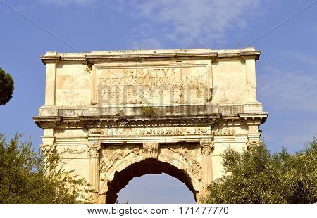 Rome Italy - September 11 2016 : The historical Arch of Titus in Rome