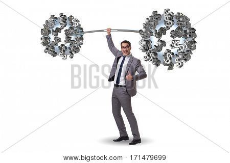 Businessman lifting barbell with dollars