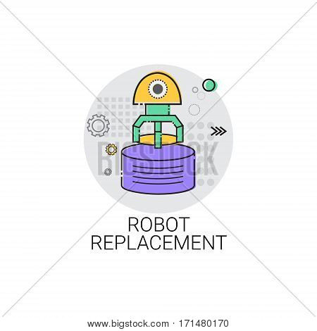Robot Replacement Machinery Industrial Automation Industry Production Icon Vector Illustration