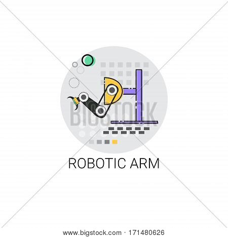Smart Robotic Arm Machinery Industrial Automation Industry Production Icon Vector Illustration