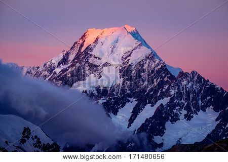 Scenic View Of Mt Cook Summit At Colorful Sunset, Nz
