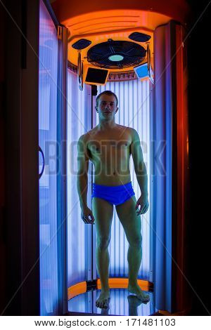 Muscular Man With Sexy Body In Solarium
