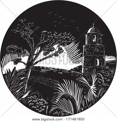 Illustration of a bellfry tower on a hill with trees nad birds set inside circle done in retro woodcut style.