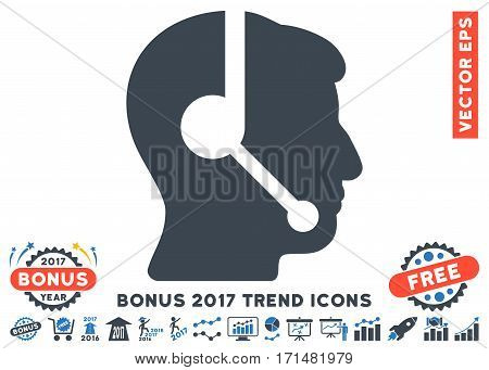 Smooth Blue Call Center Operator pictograph with bonus 2017 year trend elements. Vector illustration style is flat iconic bicolor symbols white background.