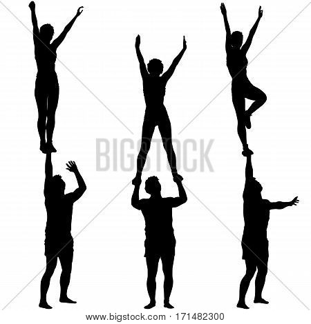 Set Black silhouette two acrobats show stand on hand. Vector illustration.