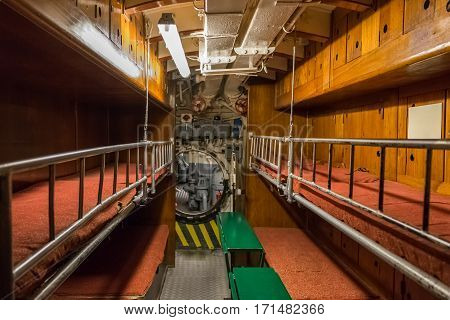 cabin with bunks for the crew on the old submarine