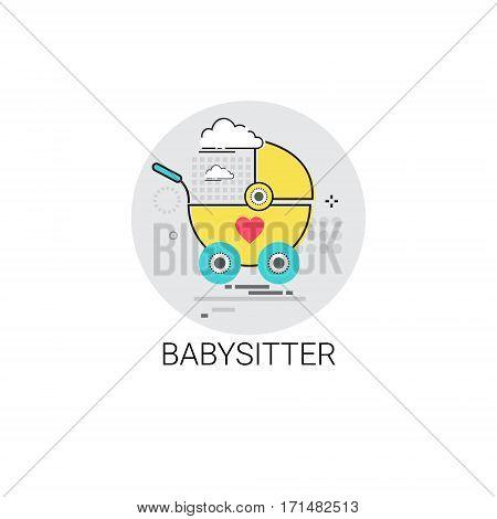 Babysitter Stroller Child Cart Icon Vector Illustration