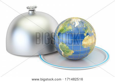 Earth globe on a platter with open lid 3D rendering isolated on white background